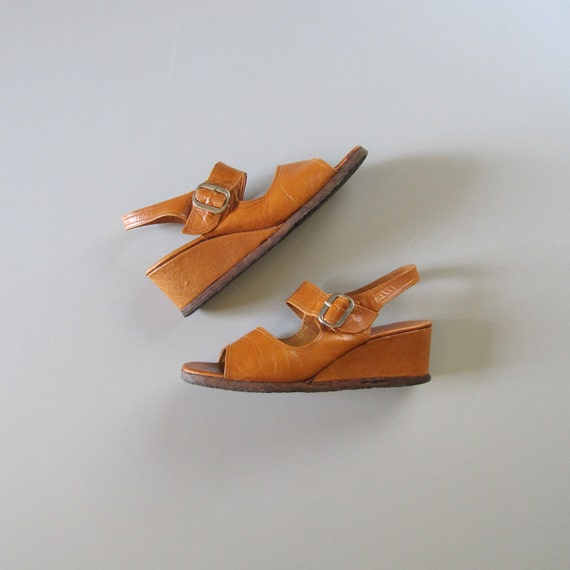 Vintage 1970s Leather Wedge Sandals 70s Wedges 70 S