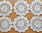 6 Small Vintage Crochet Doilies in Beige Color, 2.5 inch Doilies