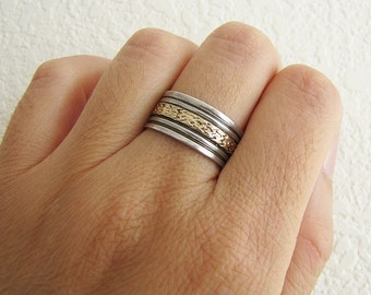 Vintage Sterling Silver wide band ring with 12k GF etched design (size 8)