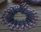 2 Yards Lace Trim Deepblue Floral Embroidered Tulle Lace Trim 4.72 Inches Wide High Quality