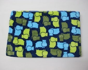 Blue and green hippo baby boy blanket