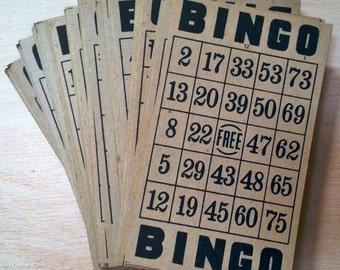 Set of 5 Vintage Brown Cardboard and Black Bingo Cards