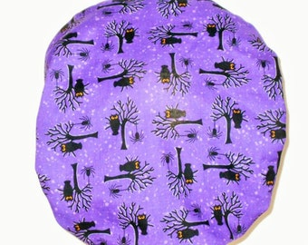 Halloween Bats and Owls Bouffant Surgical Scrub Hat - Owls and Bats on Purple with a Solid Black Headband