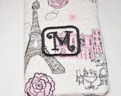 Mini Composition Note  Book with The Cover with the Initial M on Paris Themed Material  50 pages 4 1/2 inch by 3 1/4 inch Size