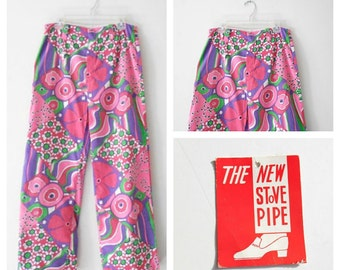 "Psychedelic Floral Print Pants - New With Tags - Trousers - High Waisted Floral Pants - Vintage 60s Womens 28"" Waist Size Medium M Sz 6"