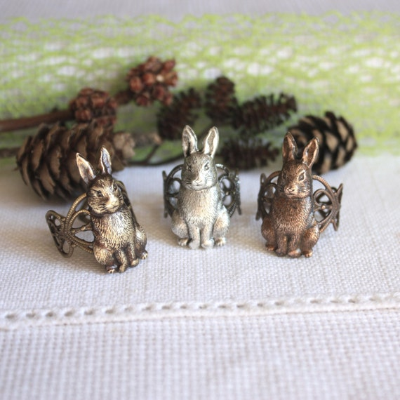 Bunny  Ring, rabbit ring, hare ring, animal jewelry, brass adjustable ring for her, Easter gift idea
