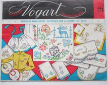 Vintage Vogart 224 Embroidery Transfer for aprons towels pillowcases Floral Butterflies Unused