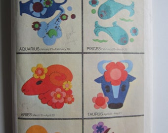 Vintage 60s Zodiac Astrology Signs Designs Applique Embroidery Pattern ~ Simplicity 8431 _ Boho Style