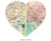 Personalized Map Art, Engagement Gift, Unique Wedding Gift, For Couples, Anniversary, Map Heart Print