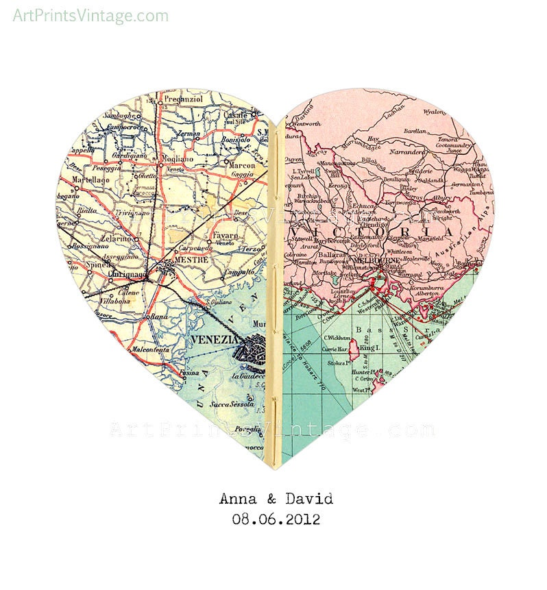 Heart Map Anniversary Gift Engagements Wedding Gift for