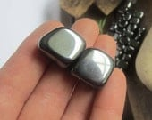 Hematite gemstones set of 2 - magnetized magnetic stones witchcraft supplies wicca wiccan crystals gemstones pagan magick altar tools