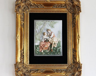 Regency Framed Bisque Plaque Featuring Spring Love Birds