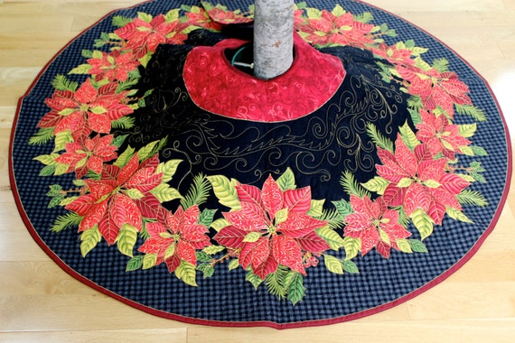 Christmas tree skirt elegant quilted poinsettia ready to