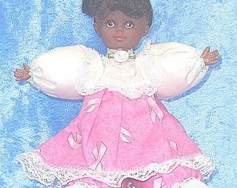 Aisha, OOAK cute African American breast cancer awareness Pink Ribbon doll