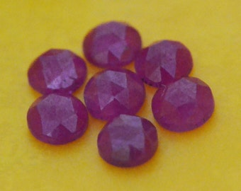 4mm Red Ruby rose cut gemstone 4 by 4 by 1.75 to 2.25 approx