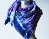 shibori scarf, cotton scarf, hand dyed shawl, indigo and violet wrap