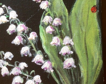 Lily of the Valley # 3painting still life original floral painting 5 x 7