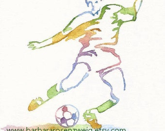 Soccer Print, Soccer Team Gift, Soccer Wall Art, Soccer Olympic Sports Decor, Kids Room Wall Art, Kids Room Decor, Painting Watercolor
