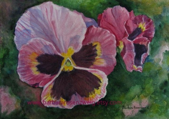 Flower Print, Pansy Painting, Pansy Flower Art, Pink Flower Wall Art, Flower Home Decor, Pansy Gift, Pansy Home Decor,  Mauve Flower Print