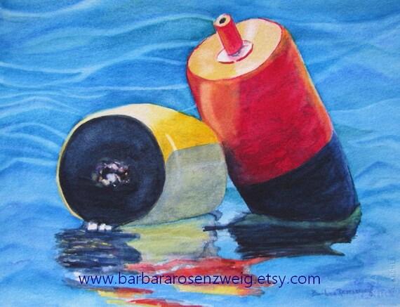 Nautical Art, Coastal Wall Art, Lobster Buoy Print Coastal Print Beach Decor Colorful Maine Nautical Home Decor Nautical Watercolor Painting