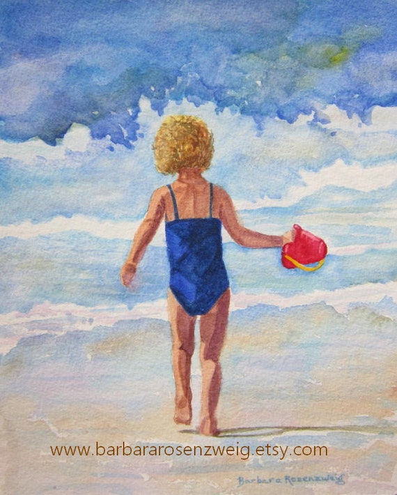Beach Girl Print, Beach Girl Wall Art, Girl Nursery Wall Decor, Child Nursery Wall Art, Coastal Art, Nautical Watercolor, Beach Art Gift