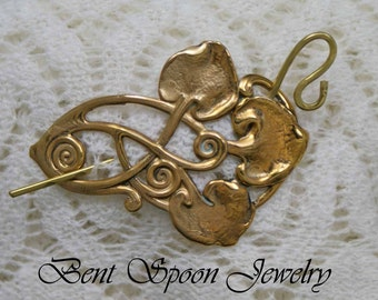 Shawl Pin, Golden Brass Water Lilies Shawl Pin, Scarf Pin, Lapel pin, Shrug closure, Bent Spoon Jewelry