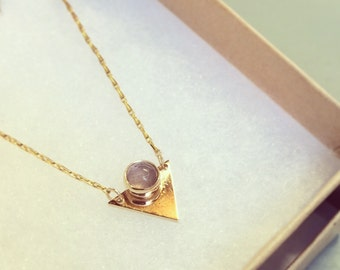 Golden Pyramid Necklace with Lavendar Amethyst