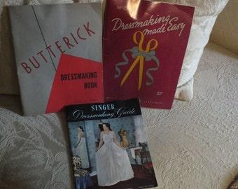 ON SALE 3 Vintage Dressmaking Softback Books - Butterick, McCall and Singer - Dressmaking Made Easy