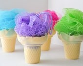 Soap on a Rope - Party Favor - Ice Cream Cone Soap with shower poof - kid's soap - pink orange blue green yellow