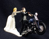 Motorcycle Wedding Cake Topper W/ Sexy Blue Harley Davidson Funny Groom Top