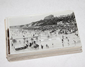 50 Vintage England Black and White Postcards Blank - Wedding Guestbook