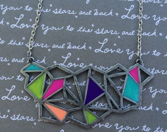 Neon geometric bib necklace