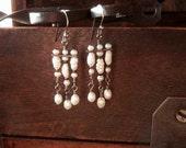 Sterling Silver White Pearl Chandelier Earrings - Gypsy Boho Bride Jewelry