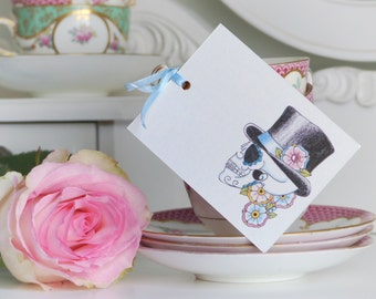 Groom Sugar Skull 'Til Death' Day of the Dead Tattoo set of 3 gift tags