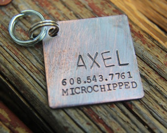Custom Dog ID Tag, The Axel, Hand Stamped Dog Tag
