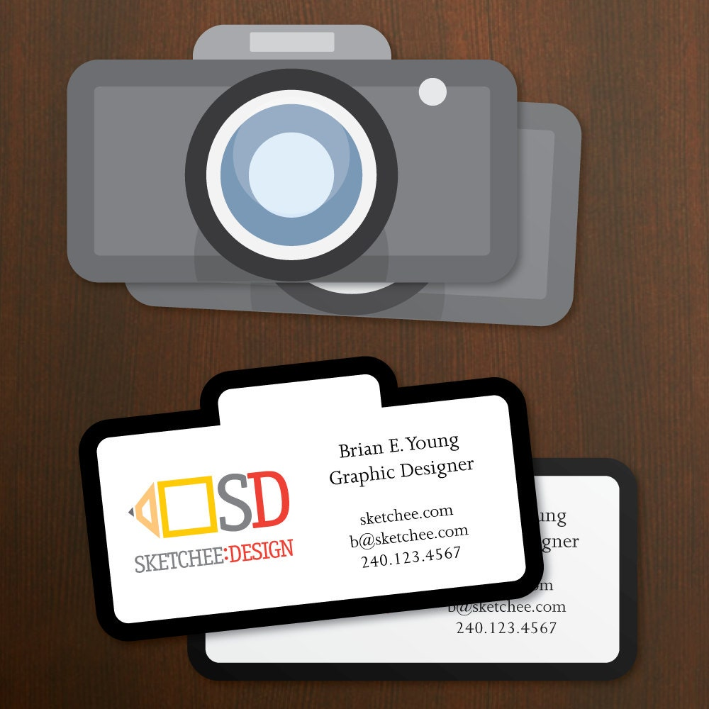 Die Cut Business Cards Camera Shape with your logo info and
