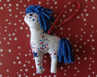 Star Fabric Horse Christmas Ornament by Pepperland