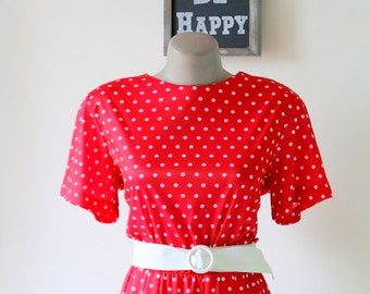 1980s RED POLKA DOTS Dress.....size medium to large.....mod. red. polka dots. 80s dress. retro. bright red lipstick. classic. i love lucy