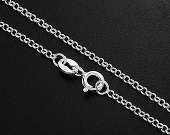 20 inches of 925 Sterling Silver Rolo Chain Necklace 1.6 mm. Delicate Chain  :th2330-20