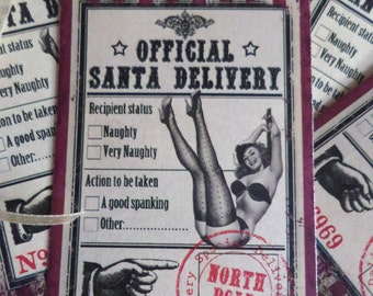 Set of 6 Large Vintage Style 'Official Santa Delivery' Adult Christmas Gift Tags