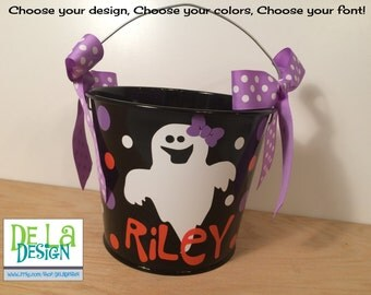 Personalized halloween bucket, 5 quart metal bucket, black with ghost, other colors and designs available, trick or treat bag, candy basket