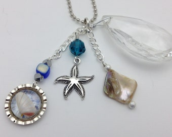 Car Charm Vintage Chandeliar Crystal with Starfish, real shells, blue, shell in resin, FREE Shipping in U.S.