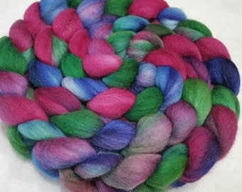 Polwarth/Silk Roving - 85/15 - 4 oz - Raspberry Pink, Sapphire Blue and Emerald Green
