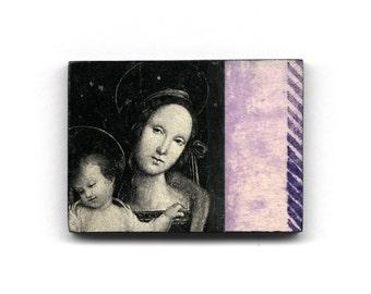 Madonna and Child - original collage fridge magnet