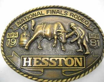 Vintage National Finals Rodeo Hesston Belt Buckle 1984