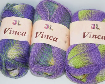 150gr self striping superwash sock yarn Vinca Purple Green