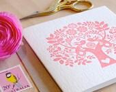 Scandinavian, Valentine, romantic pink, Mother's Day, card Spring, Letterpress Card Scandinavian Folk Style rose pink blush Tree of Life.