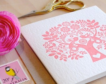 Scandinavian, Valentine, romantic pink, Mother's Day, card Spring, Letterpress Card Scandinavian Folk Style rose pink blush Tree of Life.
