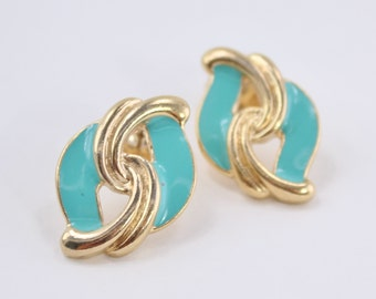 SALE 20 PERCENT OFF Vintage 1989 Signed Avon Key Biscayne Gold Tone Teal Aqua Light Turquoise Blue Enamel Swirl Curved Loop Pierced Earrings