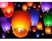 5 Sky Lanterns - You choose your colors - Wish Lanterns - Weddings, Birthdays, Anniversaries, Chinese Lanterns